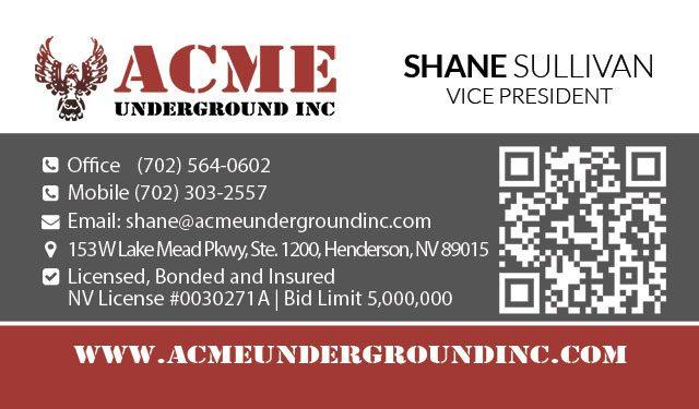 Acme Underground Business Card